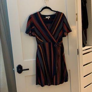 Dark multicolored striped dress